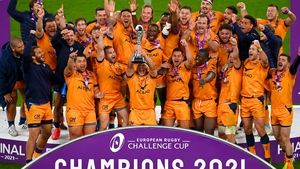 Guilhem Guirado Herault lifts the European Rugby Challenge Cup for Montpellier