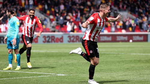 Marcus Forss celebrates Brentford's third goal against Bournemouth