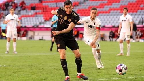 Robert Lewandowski scores the goal to break the record