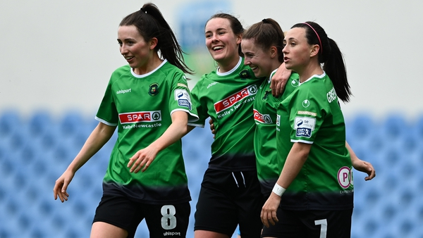 Eleanor Ryan-Doyle celebrates her first goal with Peamount team-mates Sabhdh Doyle, Lucy McCartan and Megan Smyth-Lynch