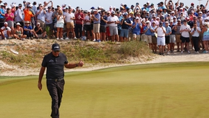 Phil Mickelson reacts on the 10th hole of his third round at Kiawah Island