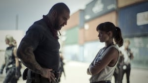 Dave Bautista as mercenary Scott Ward and Ella Purnell as aid worker daughter Kate in Army of the Dead - streaming now on Netflix