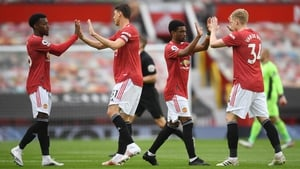 Anthony Elanga, Nemanja Matic, Amad Diallo and Donny van de Beek after the win at Wolves
