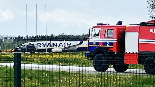 Ryanair Flight 4978 pictured while it was on the ground in Minsk