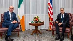 Simon Coveney tweeted that it was 'great to meet' Secretary of State Antony Blinken on his way to the Middle East