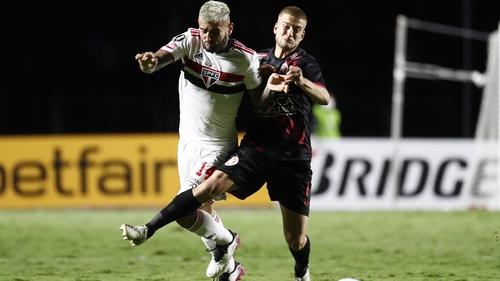 """Francisco Duarte, right, was in """"perfect condition"""" after the incident, according to his club Rentistas"""