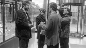 Sinn Féin leader Gerry Adams is interviewed by Joe Little in the reception area of RTÉ Television Centre in January 1994 after the Section 31 ban had been lifted. Photo: Thomas Holton/RTÉ Stills Library
