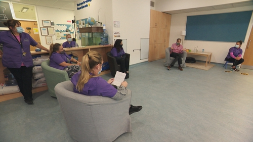 Dr Iain Morrison takes questions from childcare workers at Our Lady's Nursery in Ballymun