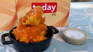 """ags Roche's cauliflower fritter """"wings"""" with blue cheese dip and celery"""