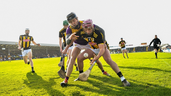 Kilkenny's Ciaran Wallace of is tackled by Joe O'Connor of Wexford during last year's league meeting