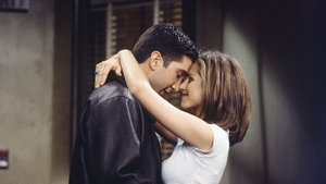 Schwimmer and Aniston in a scene from Friends