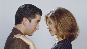 David Schwimmer and Jennifer Aniston as Ross and Rachel in a 1995 Friends promo photo