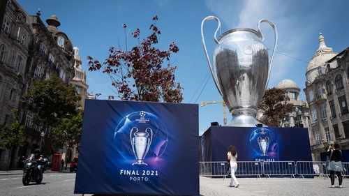 A giant inflatable Champions League trophy on the streets of Porto