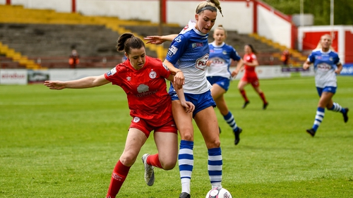 Emily Whelan of Shelbourne in action against Galway's Shauna Fox