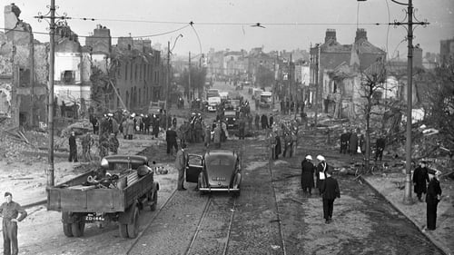 The scene on Dublin's North Strand the morning after the Geman bombing of the area in May 1941. Photo:Independent News And Media/Getty Images