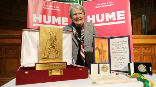 Pat Hume pictured with the awards