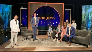 Katie Taylor and the King family with Ryan Tubridy on The Late Late Show set