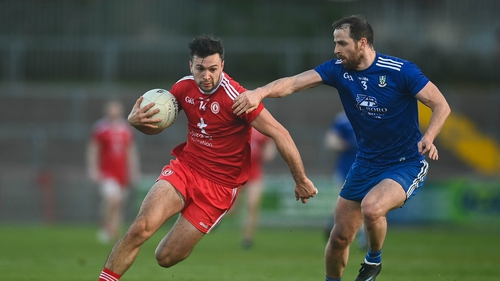 Tyrone's Conor McKenna and Monaghan's Conor Boyle in action at Omagh