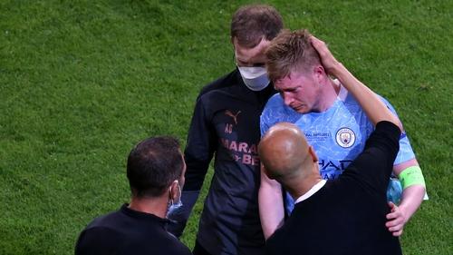 Pep Guardiola comforts Kevin de Bruyne