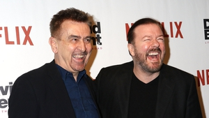 Charlie Hanson (left) and Ricky Gervais attend David Brent: Life on the Road New York Screening at Metrograph in 2017 (Photo by Laura Cavanaugh/FilmMagi)