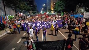 Demonstrators protest against President Jair Bolsonaro at Paulista avenue in Sao Paulo, Brazil