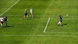 Andrea Trill of Galway, 14, scores a goal