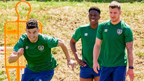 John Egan (L) in Ireland training with Chiedozie Ogbene and James Collins