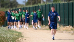 Stephen Kenny leads the team to training at the PGA Catalunya Resort in Girona