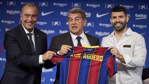 Sergio Aguero (R) at his unveiling