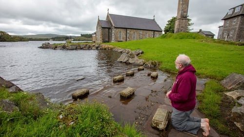 Prior of the pilgrimage island Father La Flynn, seen here last summer, is moving to the island today