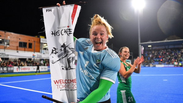 Ayeisha McFerran celebrates after Ireland sealed qualification for the Tokyo Games in November 2019