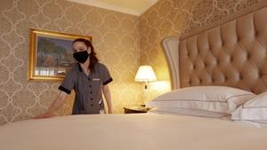 Accommodation Assistant Mona Lisa prepares the James Joyce Suit at the Intercontinental Hotel, Ballsbridge in Dublin