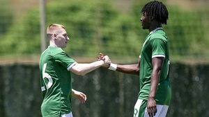Ross Tierney, left, celebrates his goal with team-mate Joshua Kayode
