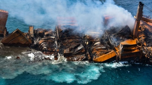 The 186-metre ship burned for 13 days before the blaze was extinguished