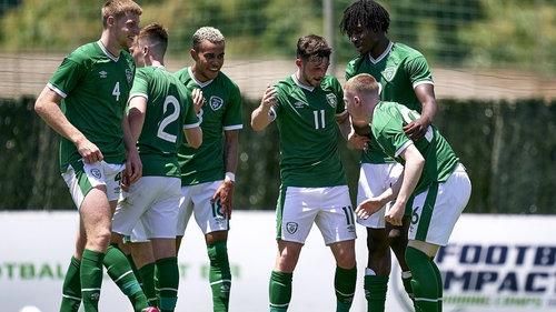 Ross Tierney, right, celebrates his goal with his Ireland team-mates