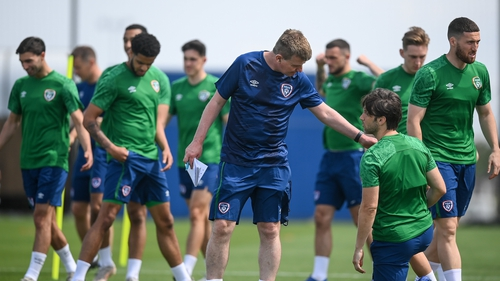 Stephen Kenny and his squad at a training session ahead of the Andorra game