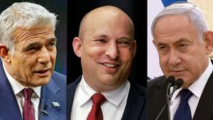 (L-R) Yair Lapid, Naftali Bennett and Benjamin Netanyahu
