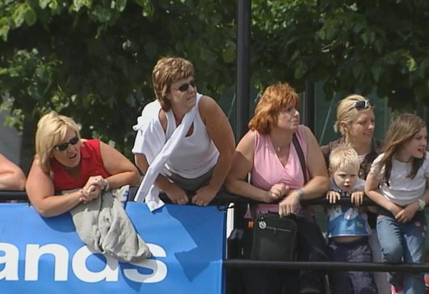 Cheering on the swimmers in the Dublin Docklands Liffey Swim (2006)