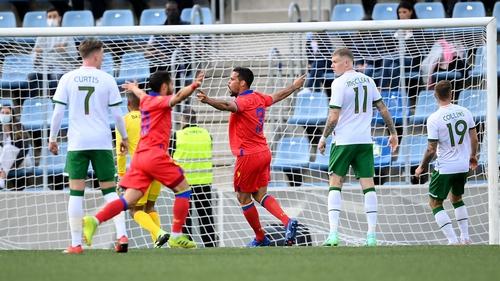 Marc Vales (3) celebrates after scoring for Andorra against Ireland