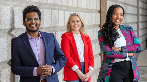 RISE Ethnic Minority Talent Programme participants Bongile Mellon, Deputy Manager, Corporate Banking and Vinil Thombrey, Senior Data Analyst, Advanced Analytics along with Zoe Deverell, Inclusion & Diversity Specialist, Bank of Ireland