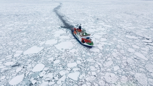 University College London image shows a research vessel investigating snow and ice in the Arctic