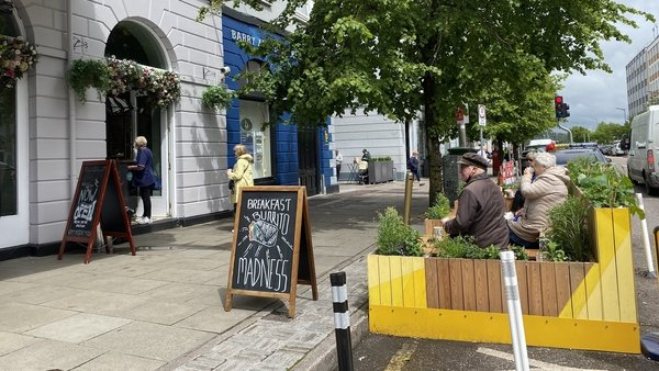 One of the city council sponsored 12 so-called 'parklets' outside the Imperial Hotel