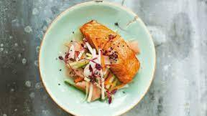 Nevens Recipes - Sesame-Crusted Salmon with Pickled Carrot and Cucumber Salad