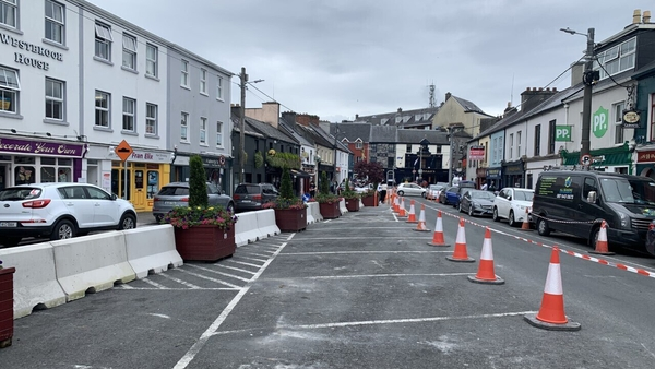 Concrete bollards have been placed down the centre of the Woodquay area