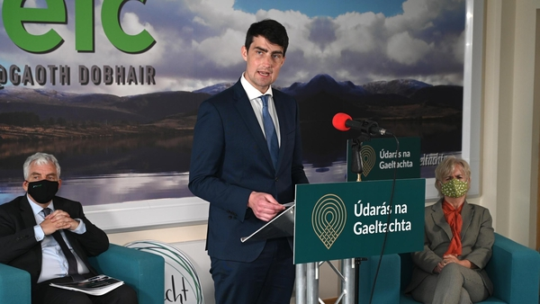 Minister of State Jack Chambers speaking at the launch today