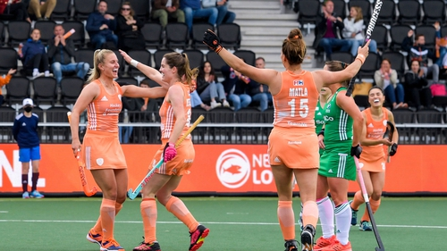 Laurien Leurin celebrates her side's second goal in the Netherlands' 4-0 victory over Ireland