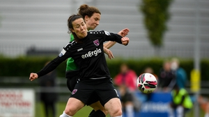 Lynn Marie Grant of Wexford Youths in action against Karen Duggan of Peamount United
