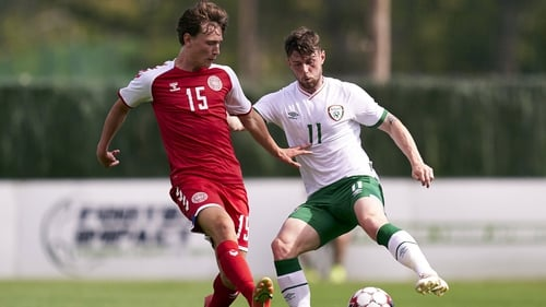 Will Ferry, right, d in action against Denmark's William Boving