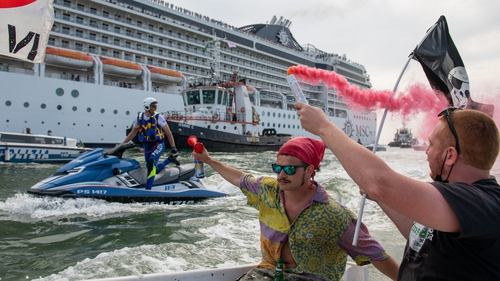 A protest against large cruise ships in Venice