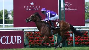 Spanish jockey Ioritz Mendizabal and St Mark's Basilica took the 181st edition of The Prix du Jockey-Club horse race at Chantilly.